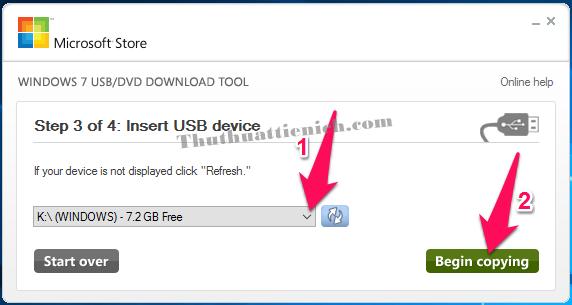 Chọn USB rồi nhấn nút Begin copying