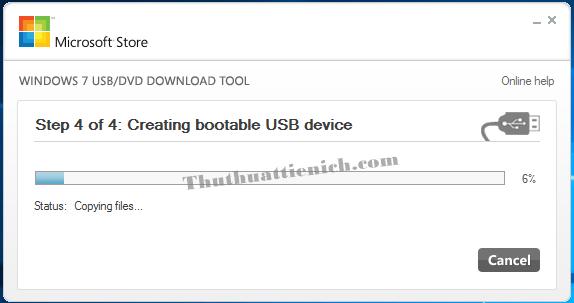 Bắt đầu quá trình tạo USB cài đặt Windows