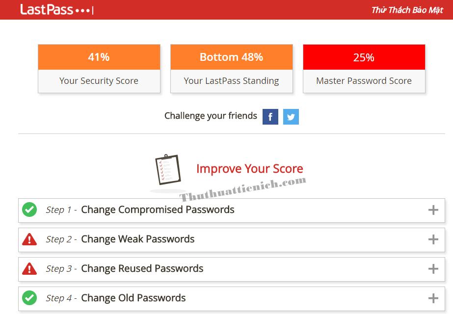 Tính năng Thử thách bảo mật trên phần mềm Lastpass