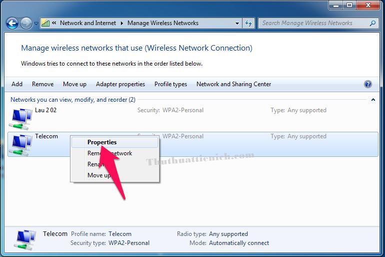Nhấn chuột phải lên Wifi muốn xem mật khẩu chọn Properties