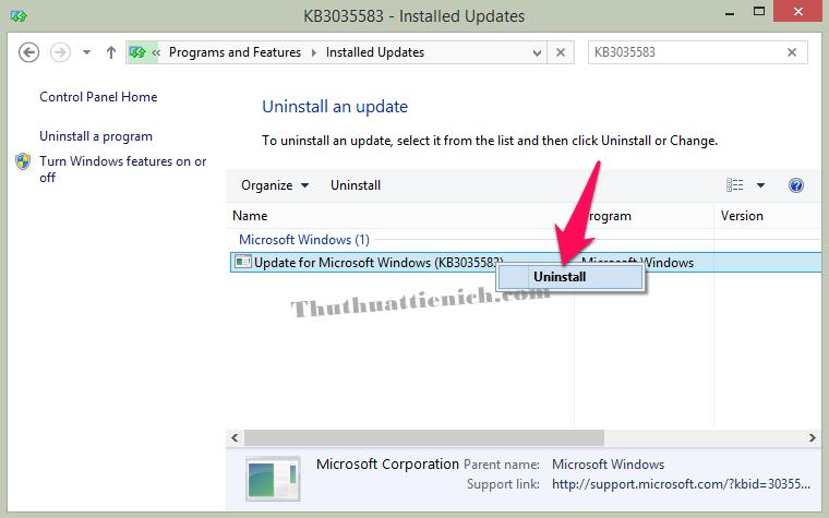 Nhấn chuột phải lên bản cập nhật KB3035583 chọn Uninstall