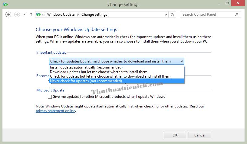 Thay đổi cách Windows cập nhật trong phần Important updates