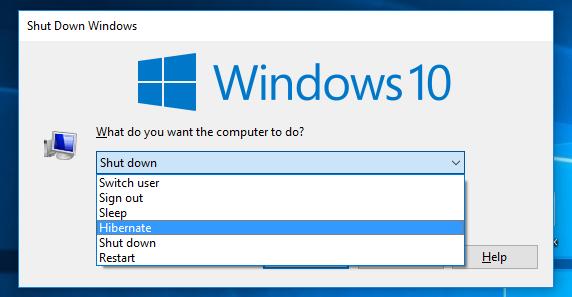 Nút Hibernate trong Shut Down Windows
