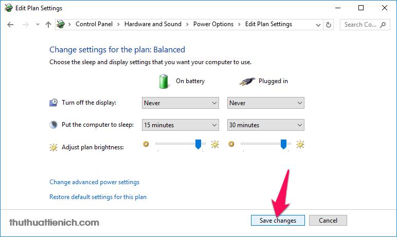 Nhấn nút Save changes để lưu lại thay đổi