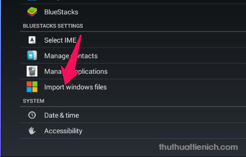 Nhấn nút Import windows files (tiếng Việt là Truy nhập tập tin của Windows)