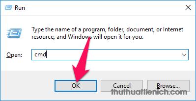 Nhấn tổ hợp phím Windows + R sau đó nhập lệnh cmd vào khung Open rồi nhấn nút OK