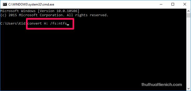 """Nhập lệnh convert """"ký tự ổ đĩa"""": /fs:ntfs rồi Enter"""
