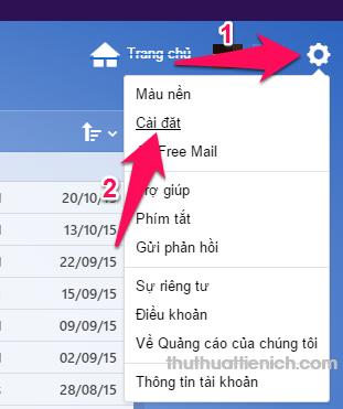 Tại hòm thư Yahoo mail, bạn nhấn nút răng cưa góc trên cùng bên phải chọn Cài đặt