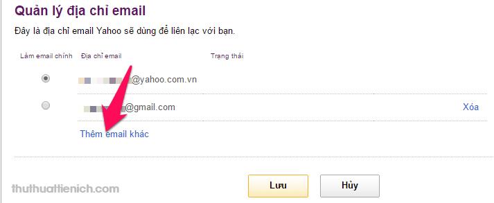 Nhấn nút Thêm email khác