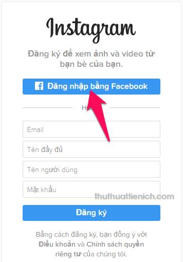 Nhấn nút Đăng nhập bằng Facebook