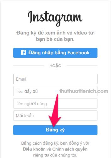 Nhập các thông tin vào Form đăng ký rồi nhấn nút Đăng ký