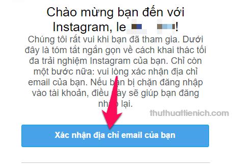 Xác minh địa chỉ email đăng ký Instagram
