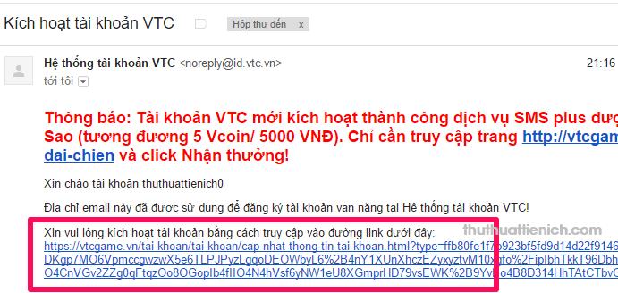Mở email và nhấn vào liên kết trong email VTC gửi cho bạn