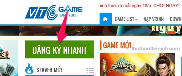 Nhấn nút Đăng ký nhanh góc bên trái của trang web