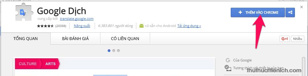 Nhấn nút Thêm vào Chrome để cài đặt add-on Google dịch