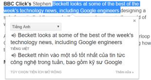 Trang bị Google dịch cho trình duyệt web, dịch nhanh hơn