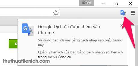 Biểu tượng của Google dịch góc trên cùng bên phải trình duyệt