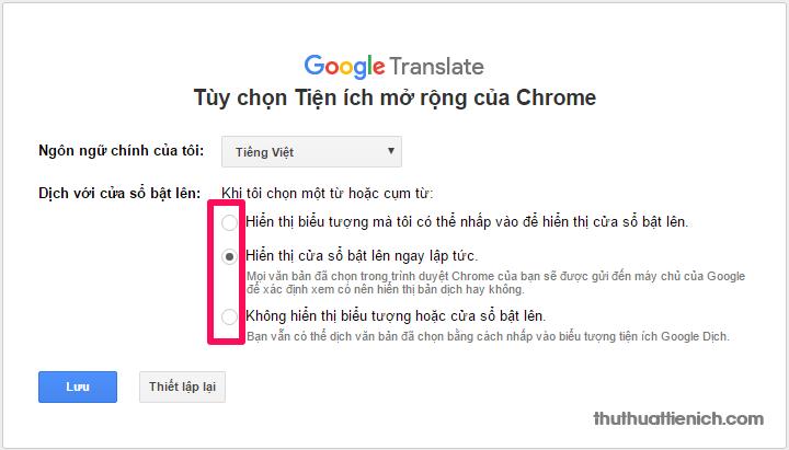 Một số thiết lập cho add-on Google dịch