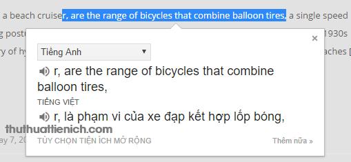 Bạn chỉ cần bôi đen cụm từ muốn dịch là hiện cửa sổ dịch ngay