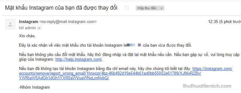 Email thông báo về việc thay đổi mật khẩu Instagram