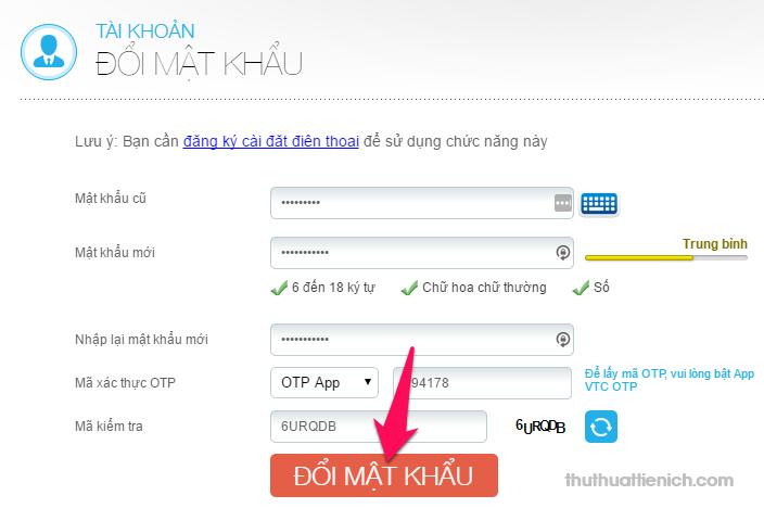 Bạn nhập mã xác thực OTP rồi nhấn nút Đổi mật khẩu