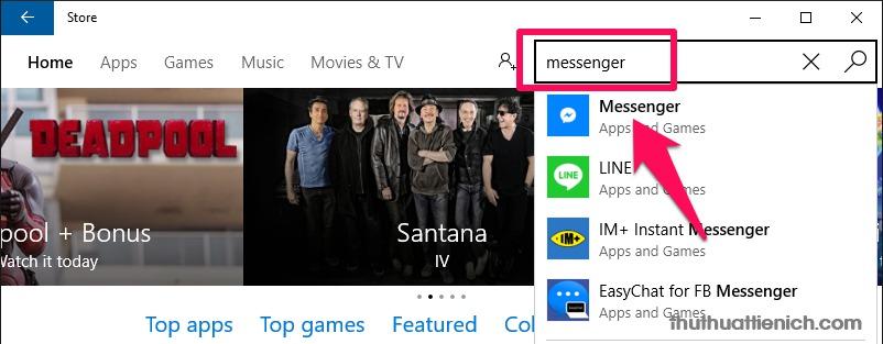 Tìm kiếm trong Windows Store với từ khóa messenger