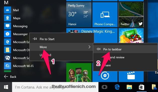 Nhấn chuột phải lên Messenger chọn More -> Pin to taskba