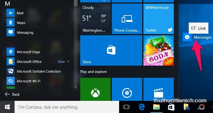 Hoặc nhấn, giữ rồi kéo biểu tượng Messenger trong All apps ra ngoài màn hình Desktop