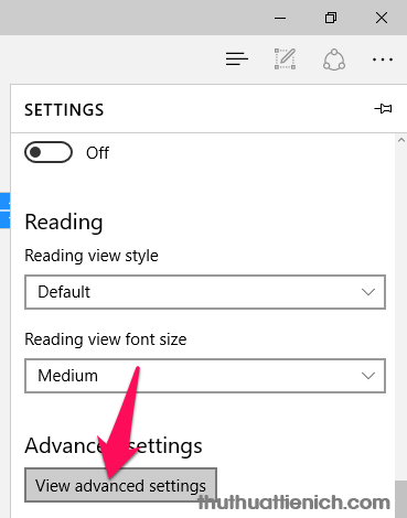 Nhấn nút View advanced settings