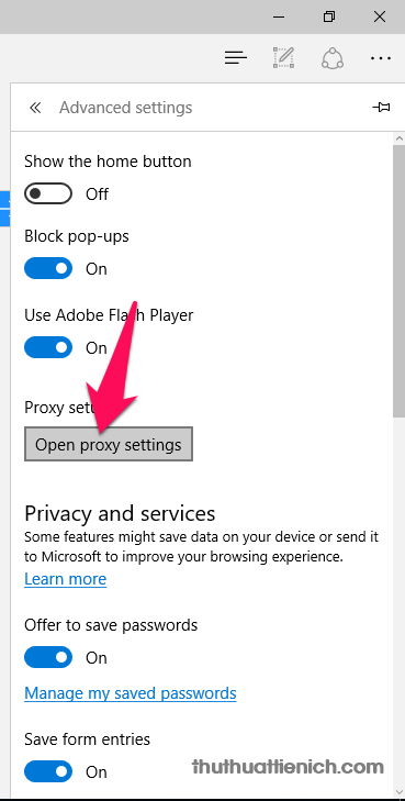 Nhấn nút Open Proxy settings