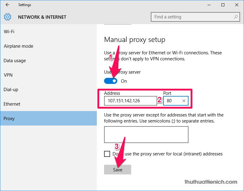 Gạt công tắc trong phần Use proxy server sang bên phải (màu xanh - On) rồi nhập Proxy IP (Address) và proxy Port sau đó nhấn nút Save