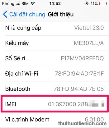 Lấy mã trong phần IMEI
