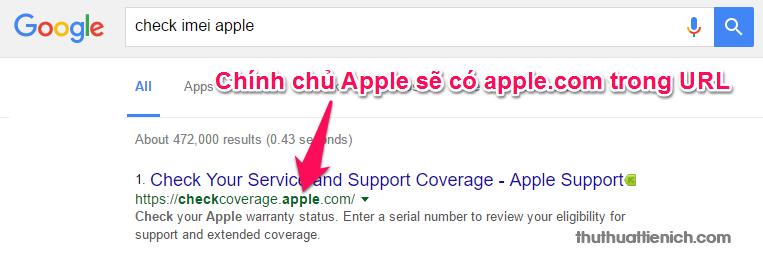 Tìm kiếm với từ khóa check imei apple và mở trang có đuôi Apple.com