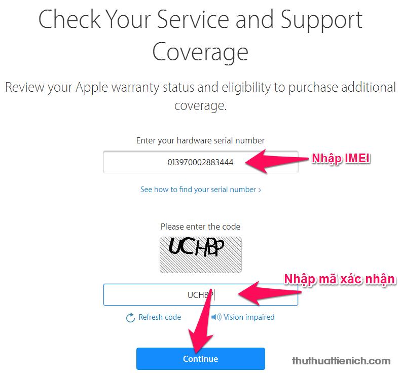 Nhập mã IMEI, mã xác nhận rồi nhấn nút Continue