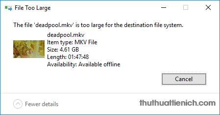 Lỗi thường gặp khi để định dạng ổ đĩa là FAT32