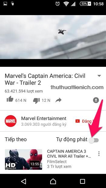 Cách 2 là tắt tự động phát khi đang xem video