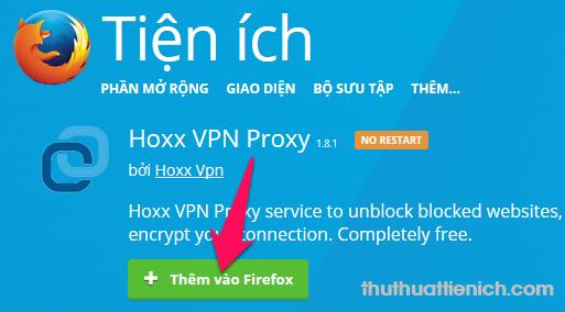 Nhấn nút Thêm vào Firefox