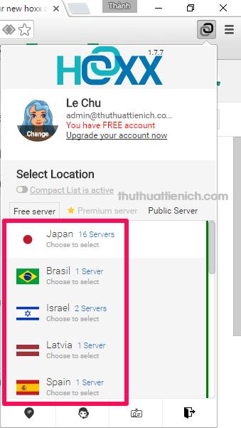 Để kết nối đến server của VPN, bạn chỉ cần nhấn vào tên server (cũng chính là tên quốc gia)