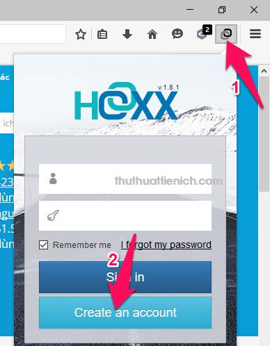 Nhấn vào biểu tượng Hoxx VPN, sau đó nhấn nút Creat an account