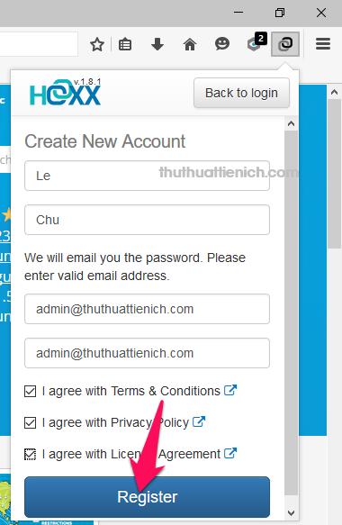 Nhập các thông tin như họ, tên, địa chỉ email sau đó tích vào các phần I agree rồi nhấn nút Register