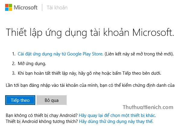 Microsoft yêu cầu bạn thiết lập theo hướng dẫn