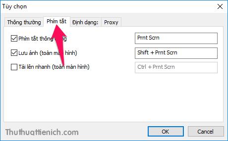Trong tab phím tắt bạn có thể thiết lập các phím tắt chụp ảnh màn hình nhanh mà không cần phải dùng đến chuột