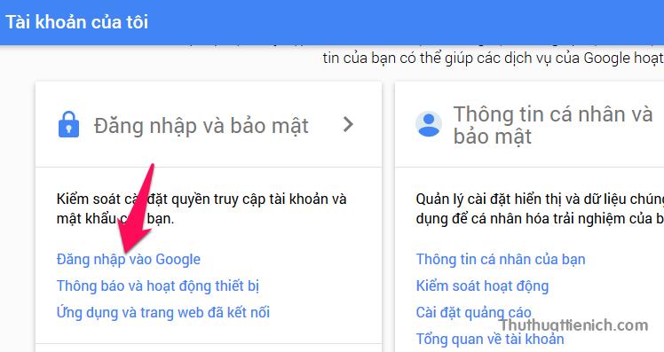 Nhấn vào dòng Đăng nhập vào Google