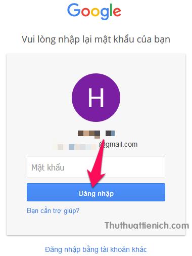 Đăng nhập lại tài khoản Google của bạn