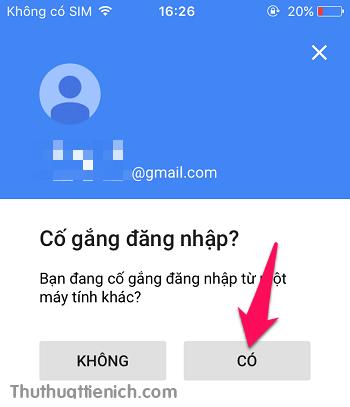 Nhấn nút Có trong ứng dụng Google trên điện thoại