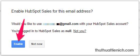 Nhấn nút Enable để đồng ý bật HubSpot