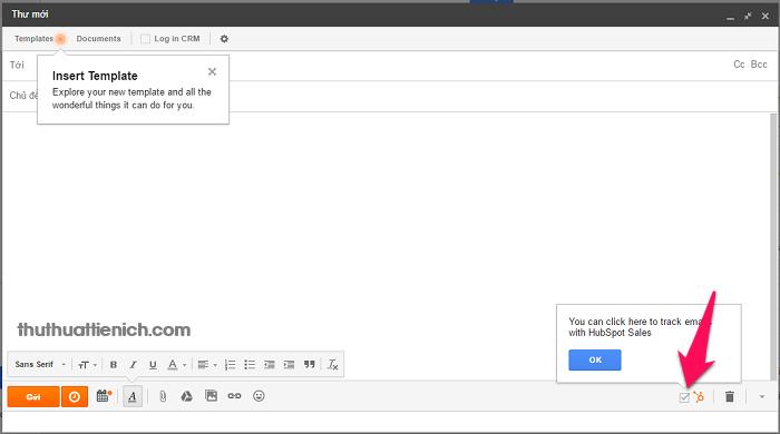 Từ nay mỗi khi gửi email, chỉ cần tích vào phần HubSpot để theo dõi