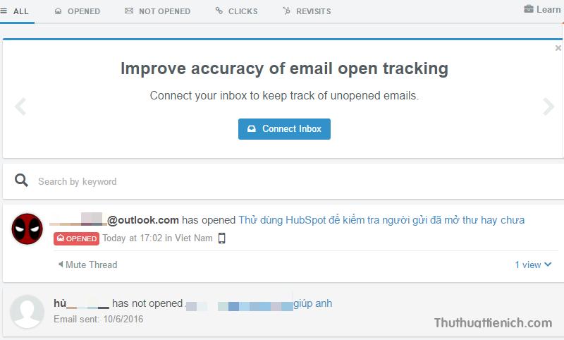 Email đã được mở sẽ có nút Opened