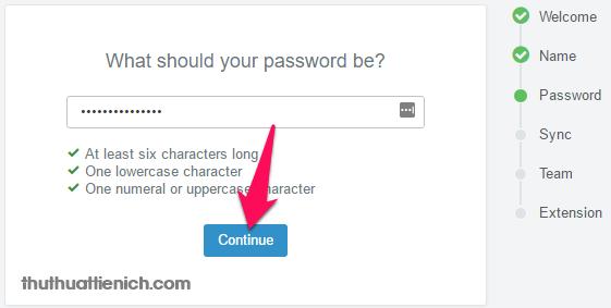 Nhập mật khẩu cho tài khoản Hubspot rồi nhấn nút Continue