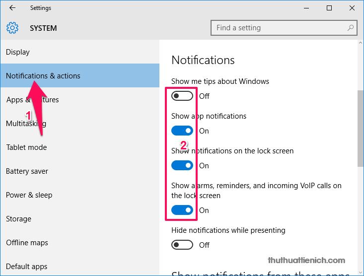 Chọn Notifications & actions trong menu bên trái, sau đó nhìn sang cửa sổ bên phải để tắt những thông báo bạn muốn
